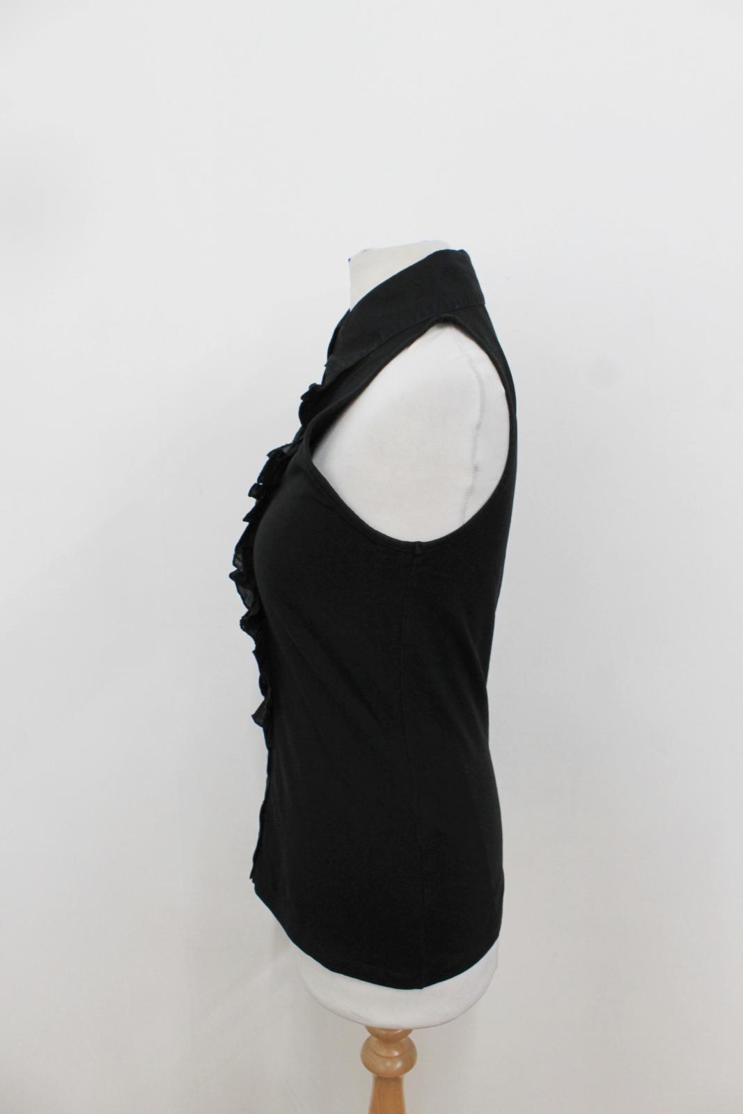 Gilet Ladies Fontaine con Black maniche Anne senza Uk10 Top colletto Eu38 Ruffle 56w0qxadaI