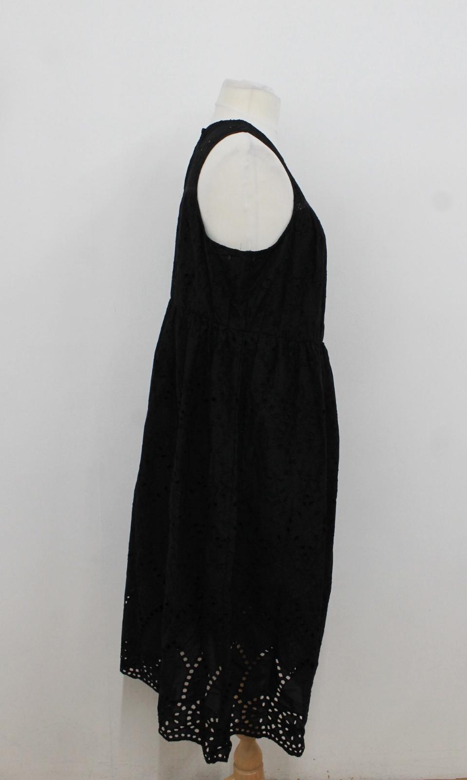 Ladies Taglia maniche s senza Bnwt Black Abito Collezione M ricamato Uk20 Crochet nqAAwOax