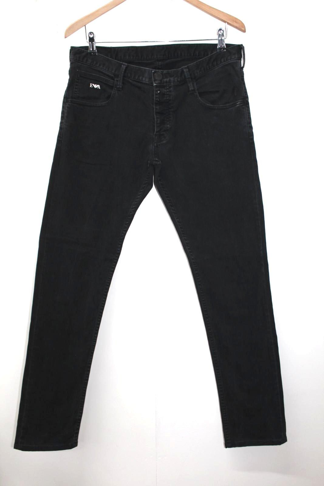 Fit Uomo misto Armani Jeans Emporio nero in Slim L34 W34 cotone Johnny qwwfzxZEI