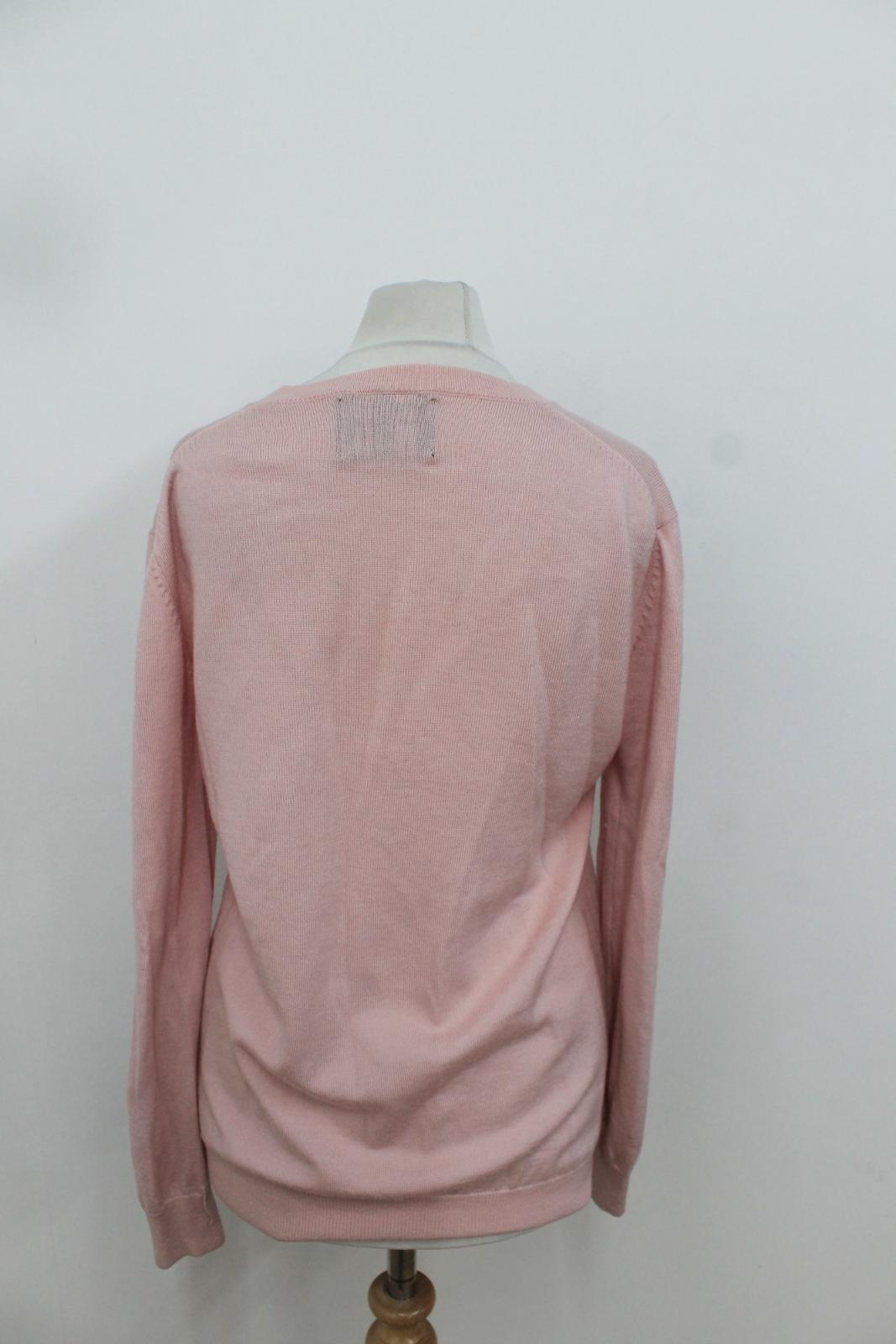 MARKUS LUPFER Ladies Pastel Pink Embellished Lips Long Sleeved Sleeved Sleeved Jumper S 2d929a