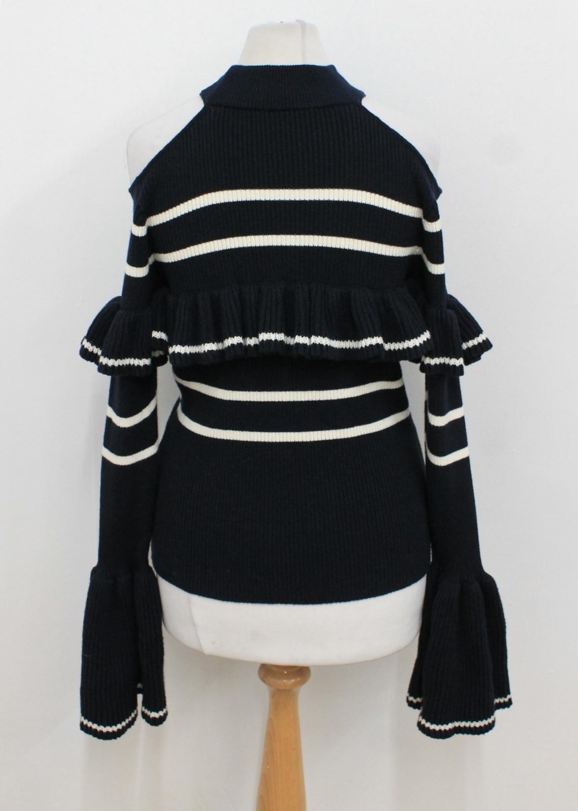 Marineblau weißer Selbstporträt gestrickte kalte Oberseite S Damen Streifen gekräuselte Schulter 56w7w