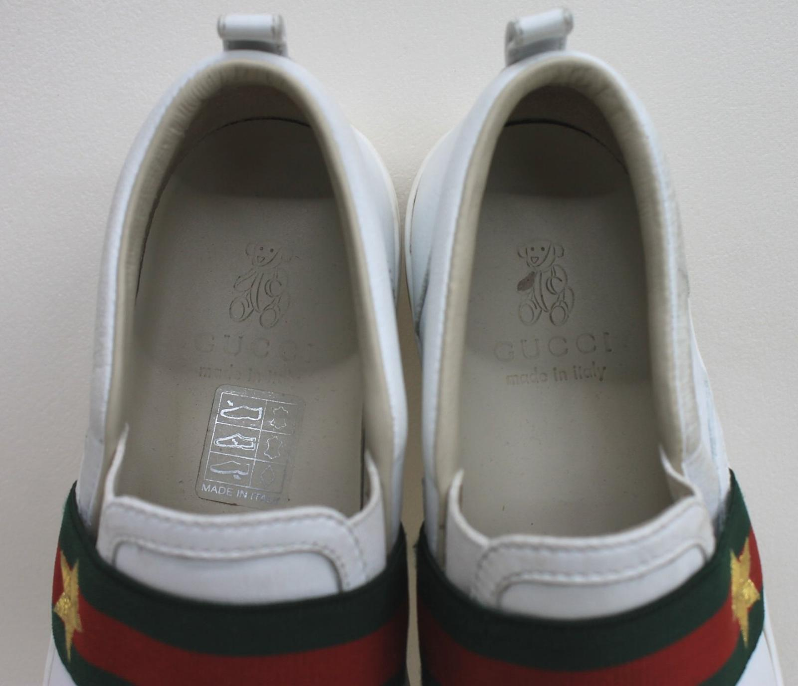 9bcce0bcc GUCCI Boys White Leather Green Red Web Star Slip On Trainers Size UK12 EU30  8 8 of 12 See More