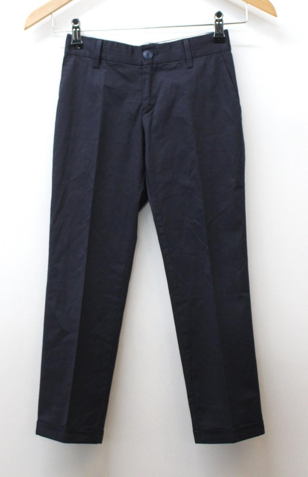 ARMANI Boys Navy Blue Cotton Blend Pleated Front Formal Trousers Size 7 Yrs. 12