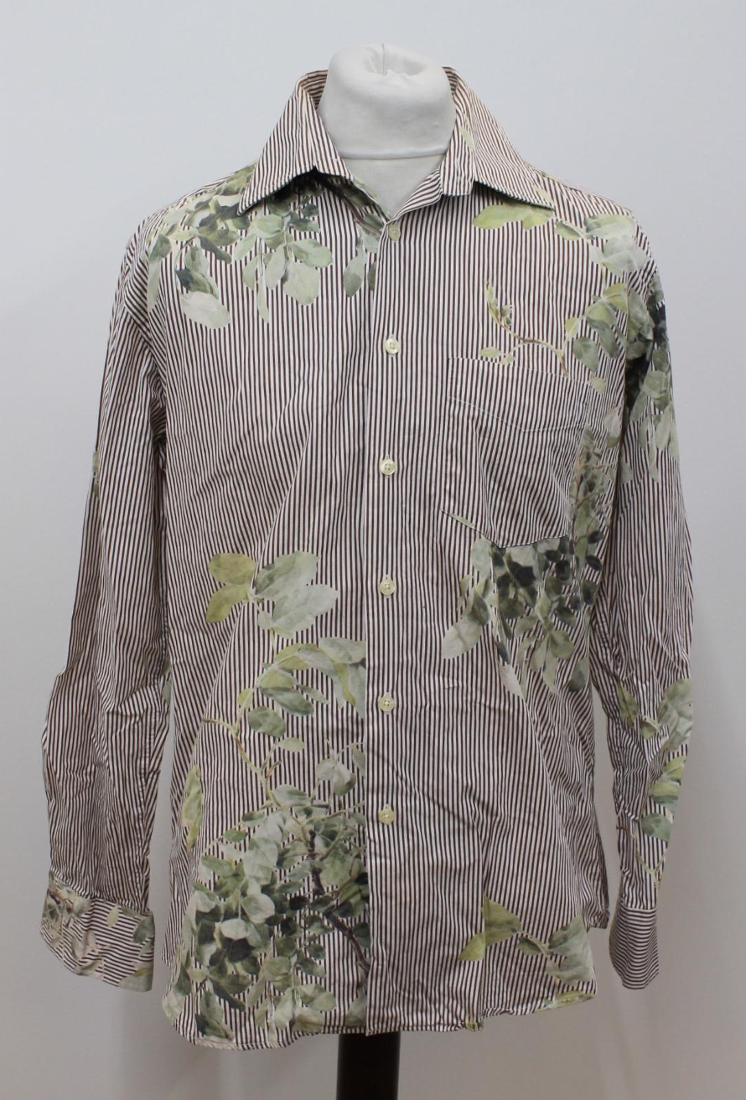 Paul-Smith-Para-Hombre-Marron-Verde-A-Rayas-Manga-Larga-de-impresion-de-hojas-Algodon-Camisa-Tamano miniatura 2