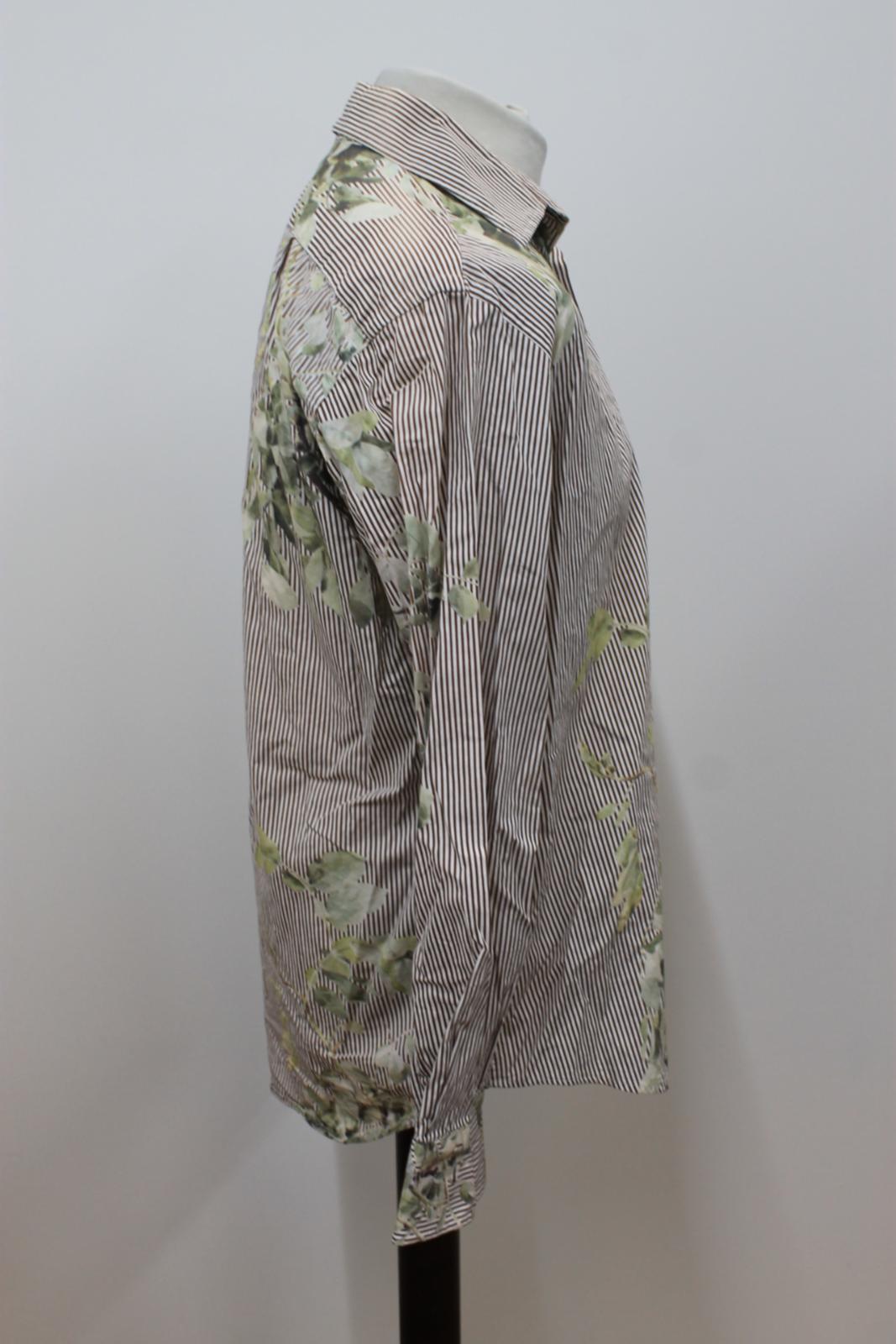 Paul-Smith-Para-Hombre-Marron-Verde-A-Rayas-Manga-Larga-de-impresion-de-hojas-Algodon-Camisa-Tamano miniatura 4