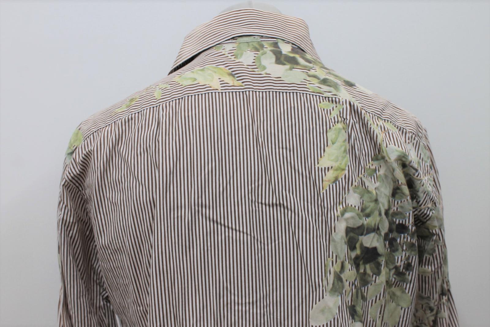 Paul-Smith-Para-Hombre-Marron-Verde-A-Rayas-Manga-Larga-de-impresion-de-hojas-Algodon-Camisa-Tamano miniatura 5