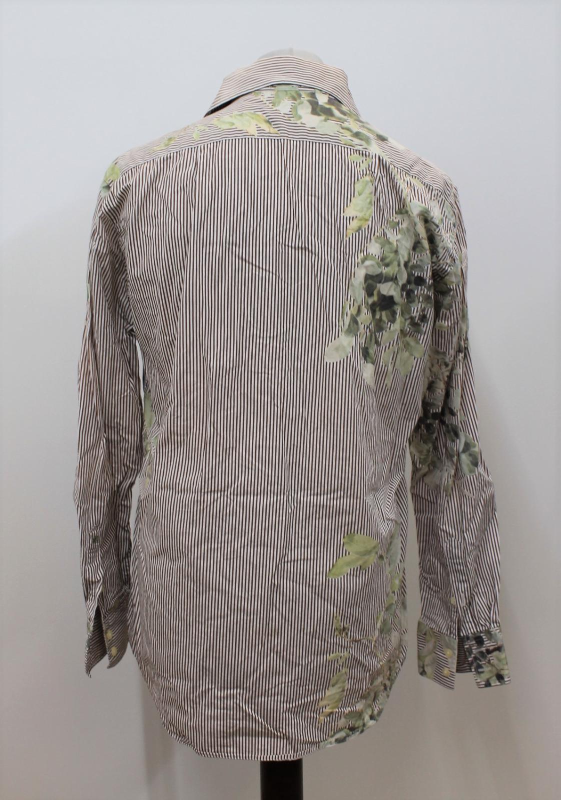 Paul-Smith-Para-Hombre-Marron-Verde-A-Rayas-Manga-Larga-de-impresion-de-hojas-Algodon-Camisa-Tamano miniatura 6