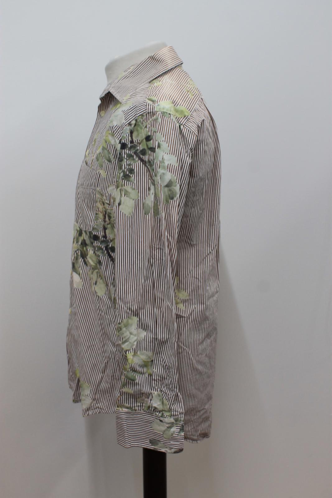 Paul-Smith-Para-Hombre-Marron-Verde-A-Rayas-Manga-Larga-de-impresion-de-hojas-Algodon-Camisa-Tamano miniatura 7