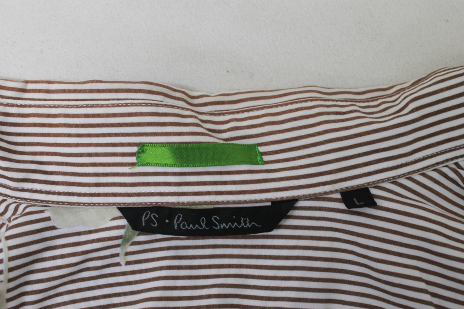 Paul-Smith-Para-Hombre-Marron-Verde-A-Rayas-Manga-Larga-de-impresion-de-hojas-Algodon-Camisa-Tamano miniatura 8