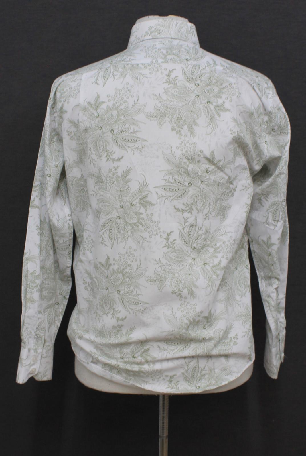 Paul-Smith-Para-Hombre-Blanco-Algodon-Con-Patron-Floral-Con-Cuello-Informal-Camisa-Talla-M miniatura 4