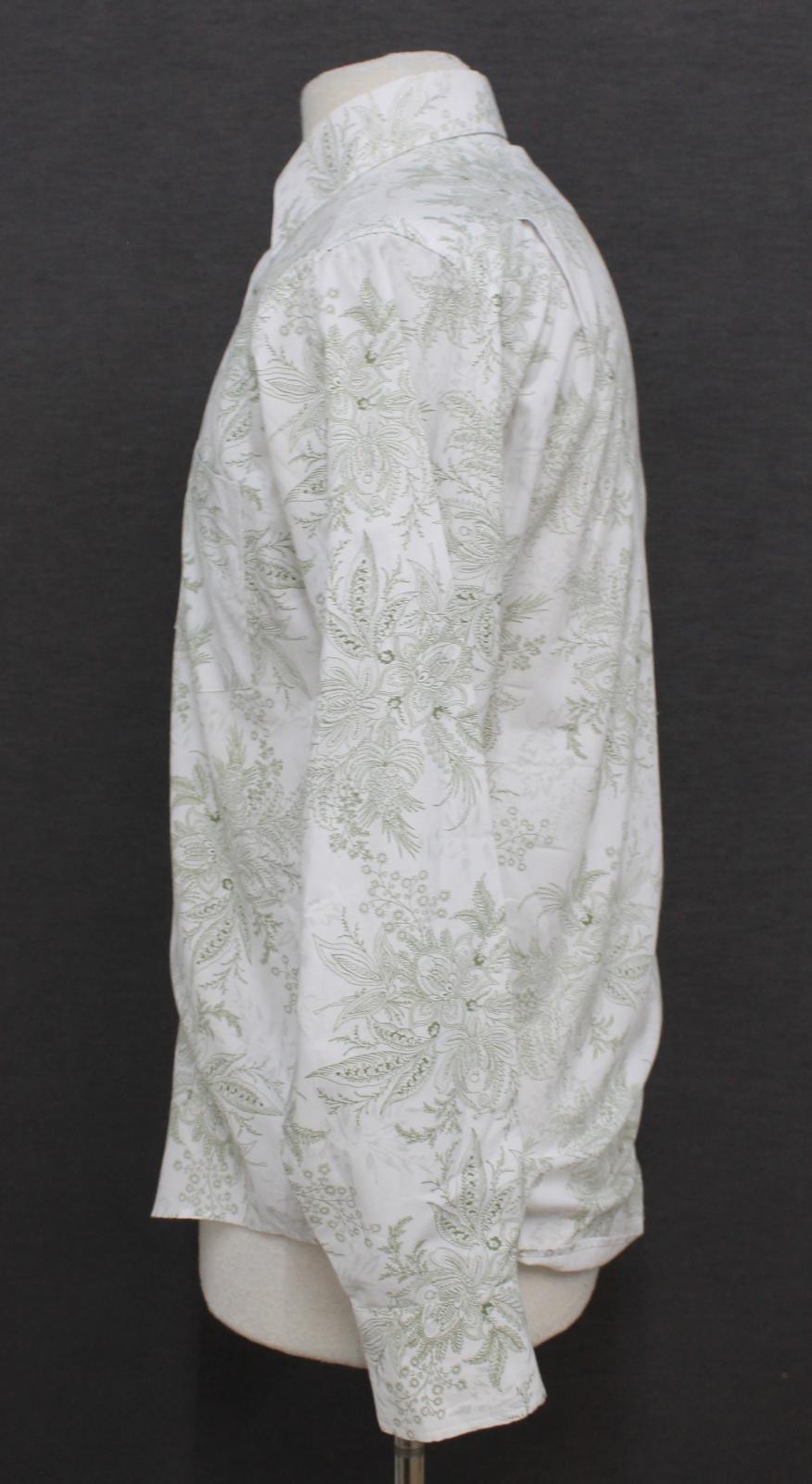Paul-Smith-Para-Hombre-Blanco-Algodon-Con-Patron-Floral-Con-Cuello-Informal-Camisa-Talla-M miniatura 5