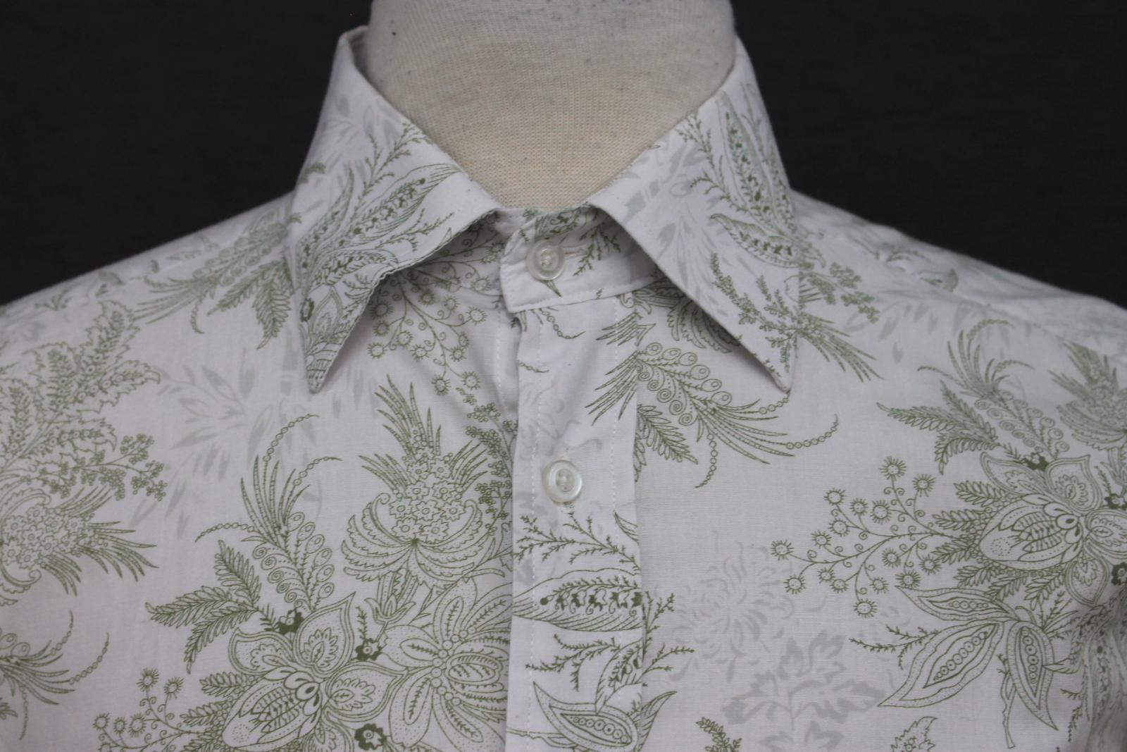 Paul-Smith-Para-Hombre-Blanco-Algodon-Con-Patron-Floral-Con-Cuello-Informal-Camisa-Talla-M miniatura 6