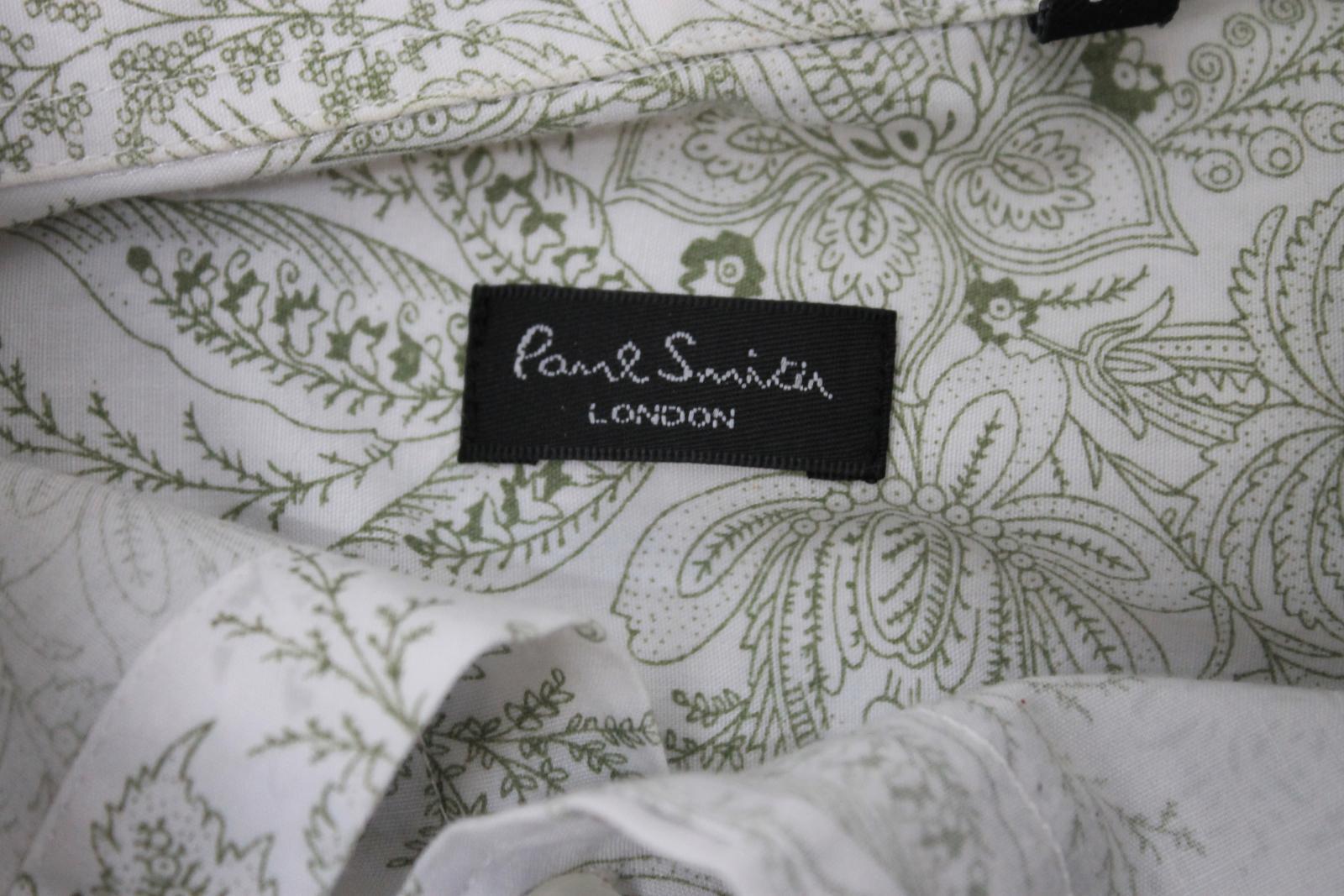 Paul-Smith-Para-Hombre-Blanco-Algodon-Con-Patron-Floral-Con-Cuello-Informal-Camisa-Talla-M miniatura 8