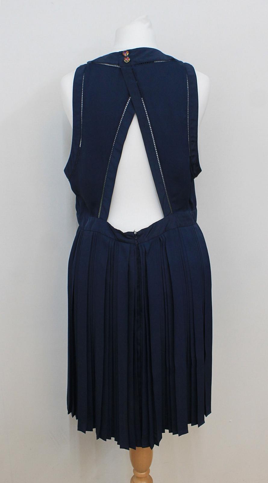 KENZO-PARIS-Ladies-Navy-Blue-Neon-Yellow-Sleeveless-Shift-Dress-FR42-UK14 thumbnail 4