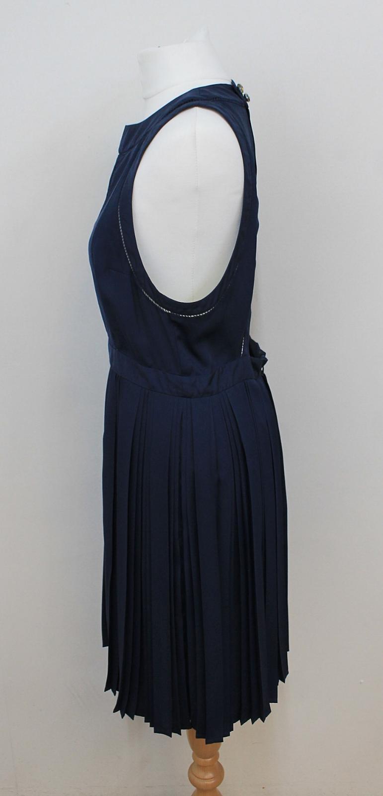KENZO-PARIS-Ladies-Navy-Blue-Neon-Yellow-Sleeveless-Shift-Dress-FR42-UK14 thumbnail 5