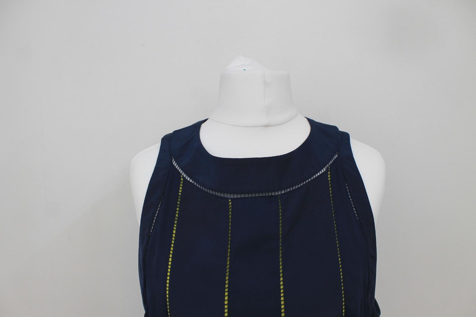KENZO-PARIS-Ladies-Navy-Blue-Neon-Yellow-Sleeveless-Shift-Dress-FR42-UK14 thumbnail 6