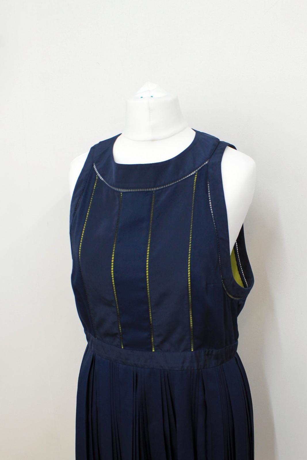 KENZO-PARIS-Ladies-Navy-Blue-Neon-Yellow-Sleeveless-Shift-Dress-FR42-UK14 thumbnail 7
