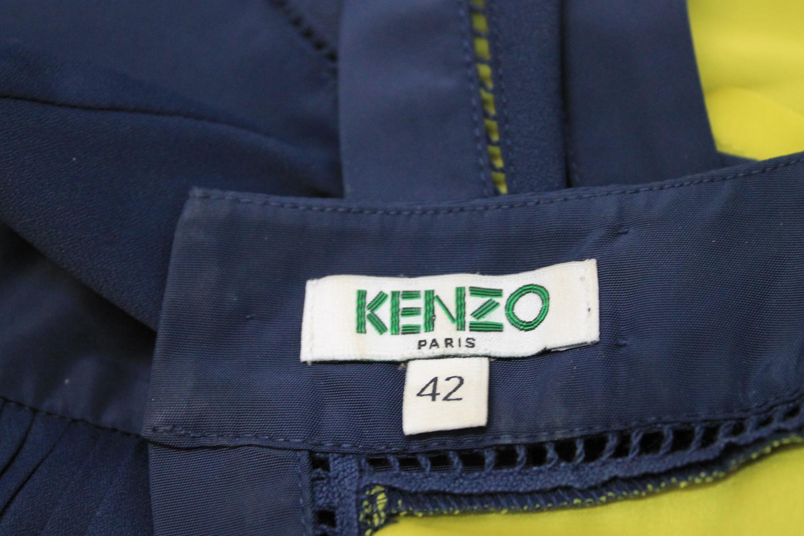 KENZO-PARIS-Ladies-Navy-Blue-Neon-Yellow-Sleeveless-Shift-Dress-FR42-UK14 thumbnail 8