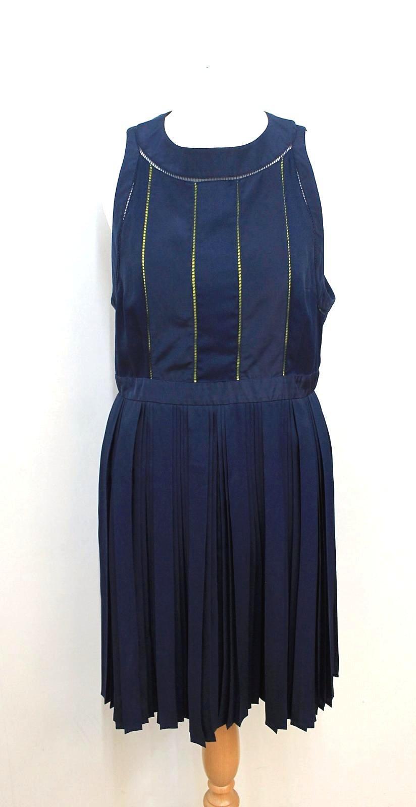 KENZO-PARIS-Ladies-Navy-Blue-Neon-Yellow-Sleeveless-Shift-Dress-FR42-UK14 thumbnail 12
