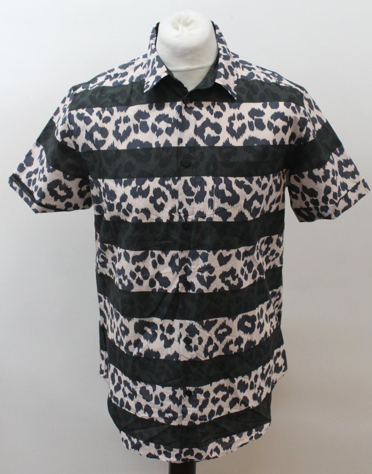 MARC-BY-MARC-JACOBS-Men-039-s-Beige-Black-Cotton-Leopard-Print-Stripe-Casual-Shirt-M thumbnail 2