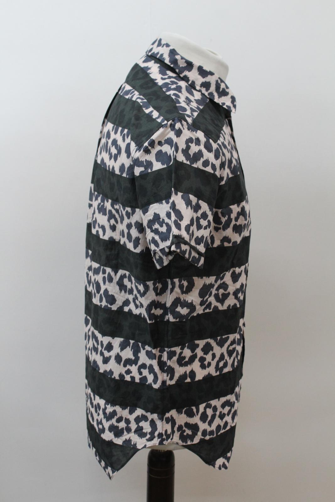 MARC-BY-MARC-JACOBS-Men-039-s-Beige-Black-Cotton-Leopard-Print-Stripe-Casual-Shirt-M thumbnail 4
