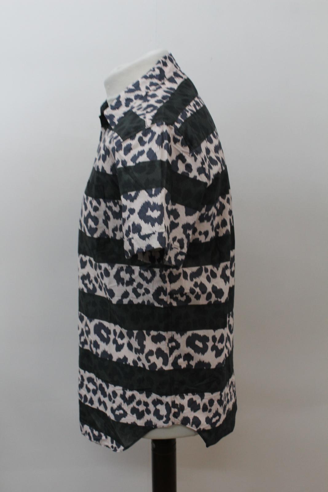 MARC-BY-MARC-JACOBS-Men-039-s-Beige-Black-Cotton-Leopard-Print-Stripe-Casual-Shirt-M thumbnail 6