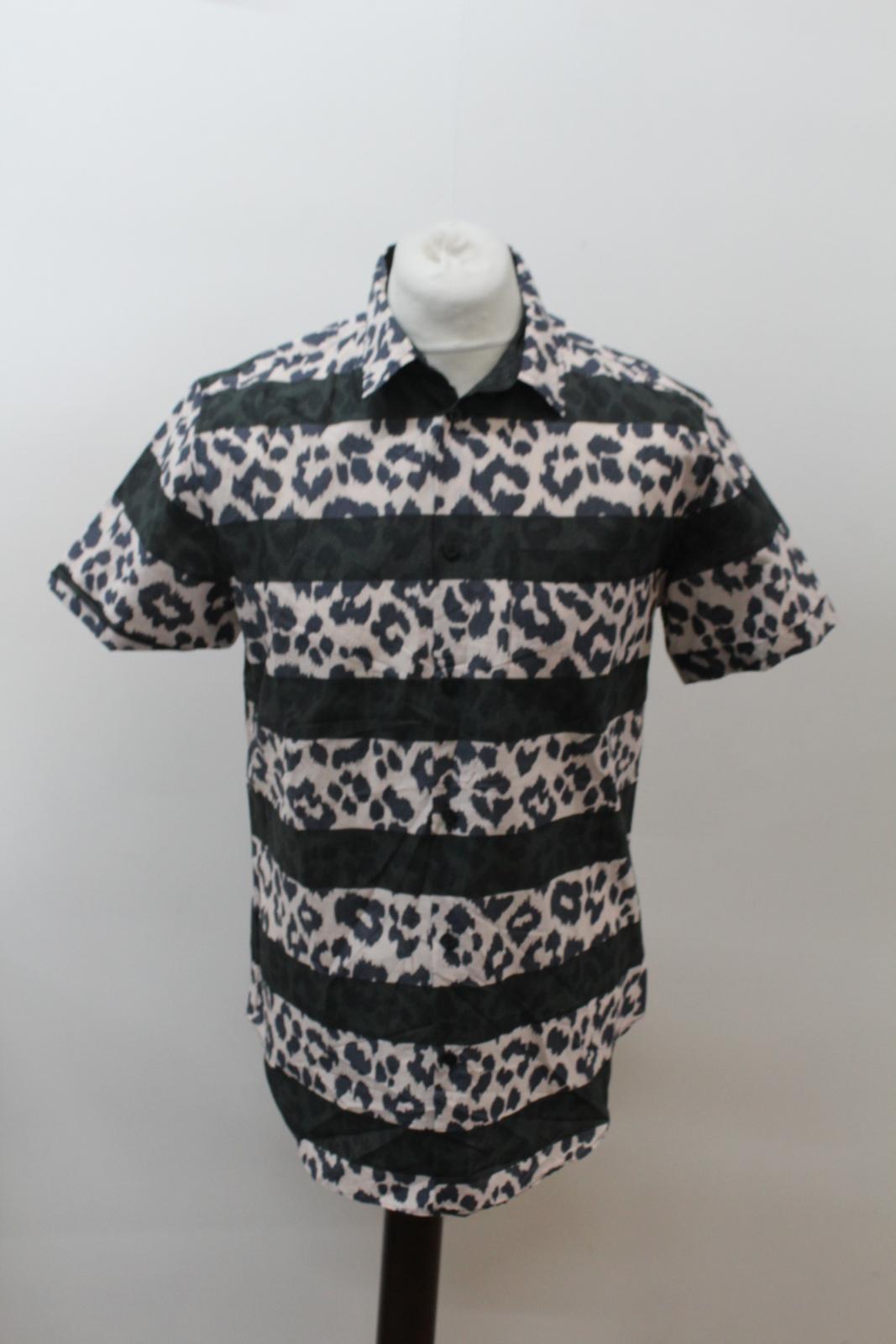 MARC-BY-MARC-JACOBS-Men-039-s-Beige-Black-Cotton-Leopard-Print-Stripe-Casual-Shirt-M thumbnail 7