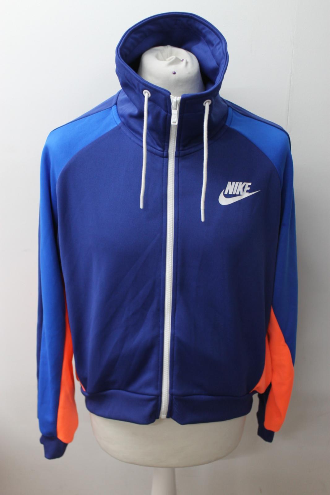 7cf7b2f5c NIKE Ladies Blue & Orange Loose Fit Long Sleeve Zip Up Jacket Size L ...