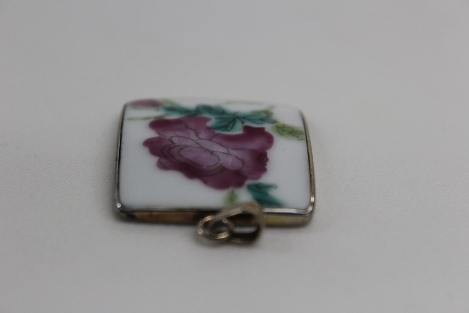 Vintage Ladies Floral Design Enamel & Silver Chinese Square Small Pendant 4