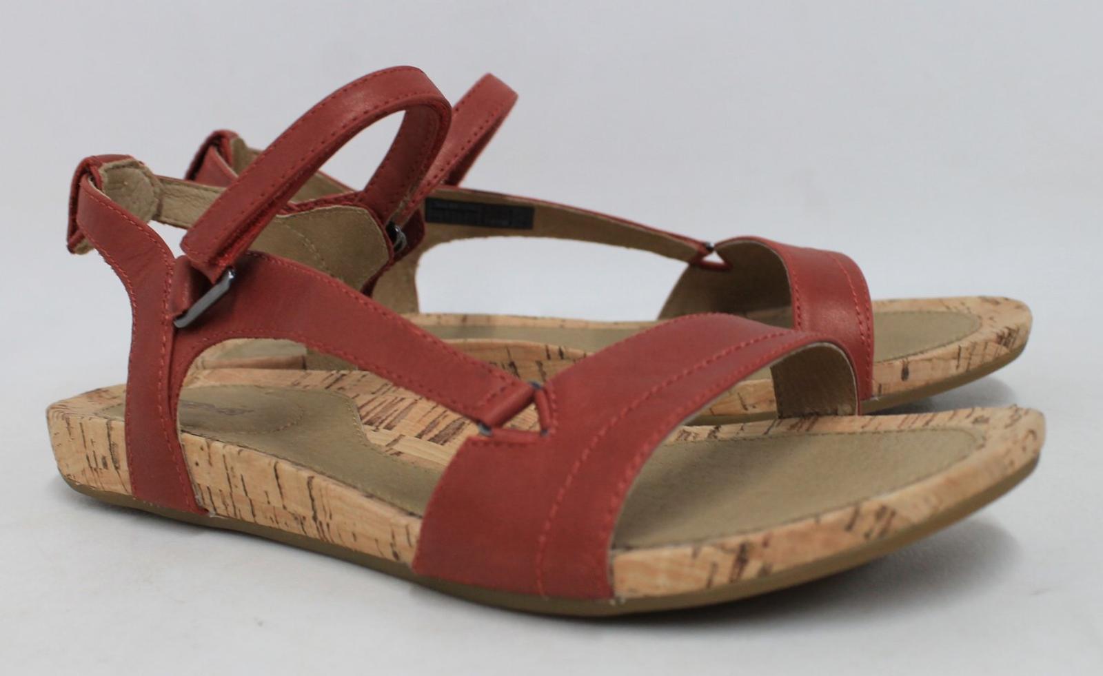 Flat Leather Bnib Cork Sole Scarpe Strap Ankle Teva Sandali Red Uk7 Ladies wfxxqOYB