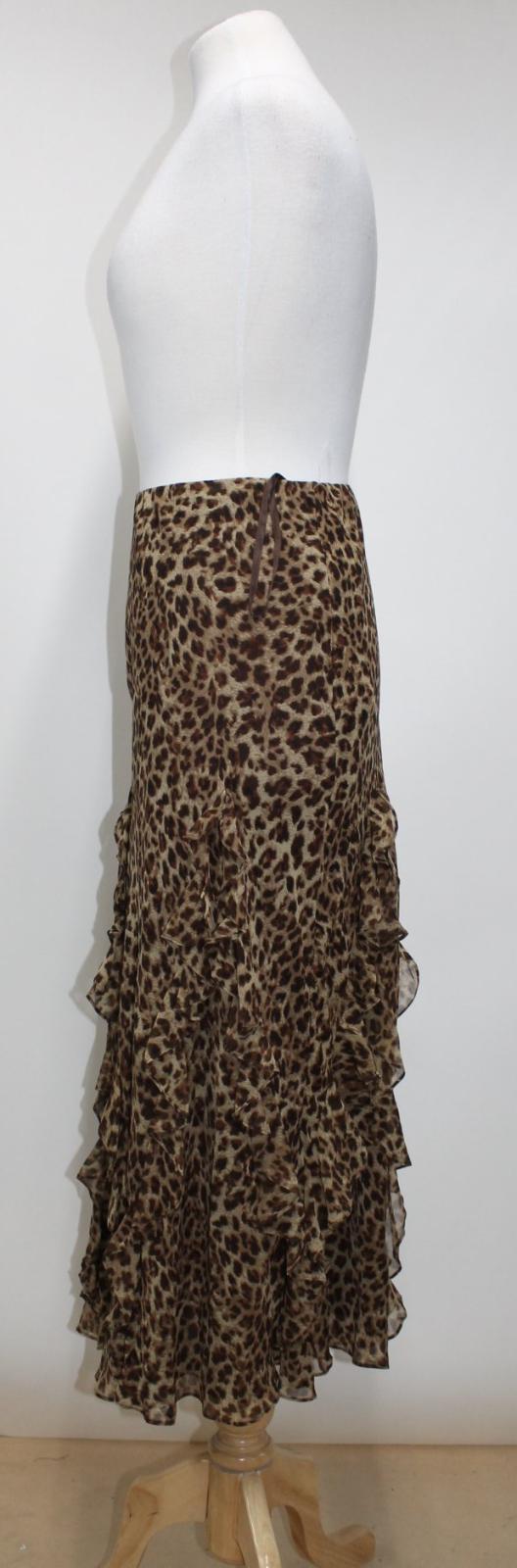 Detail Ladies A line Brown Skirt Lauren Ralph Silk Bnwt Leopard Xxl Ruffle Print ZwUBnEx