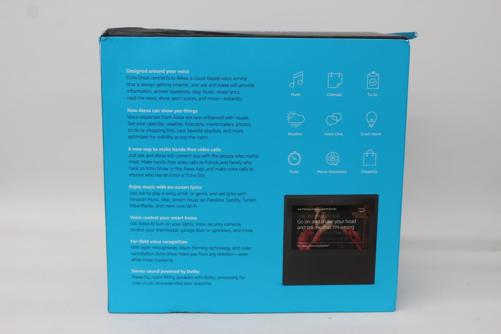 AMAZON-Echo-Show-Alexa-Smart-Assistant-Black-1st-Generation-7-034-Display-NEW thumbnail 5