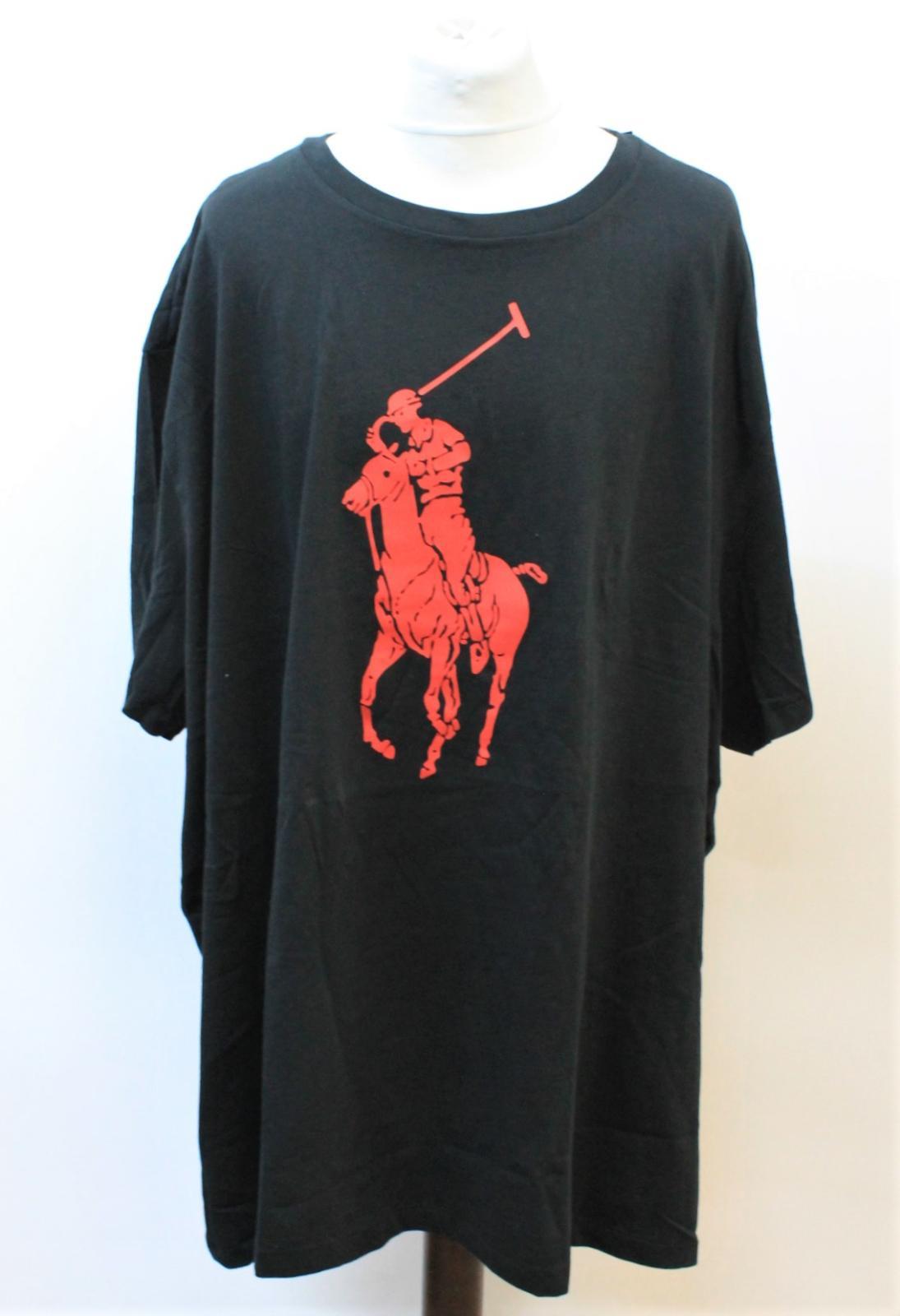 Ralph-Lauren-Polo-para-hombre-de-Big-Pony-Negra-manga-corta-camiseta-tamano-5XB-BNWT miniatura 2