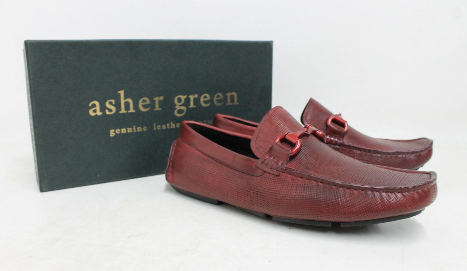 Asher-Verde-Uomo-Rosso-Bordeaux-in-Pelle-GUCCI-Mocassino-Tg-UK-8-US9-NUOVO-CON-SCATOLA miniatura 2