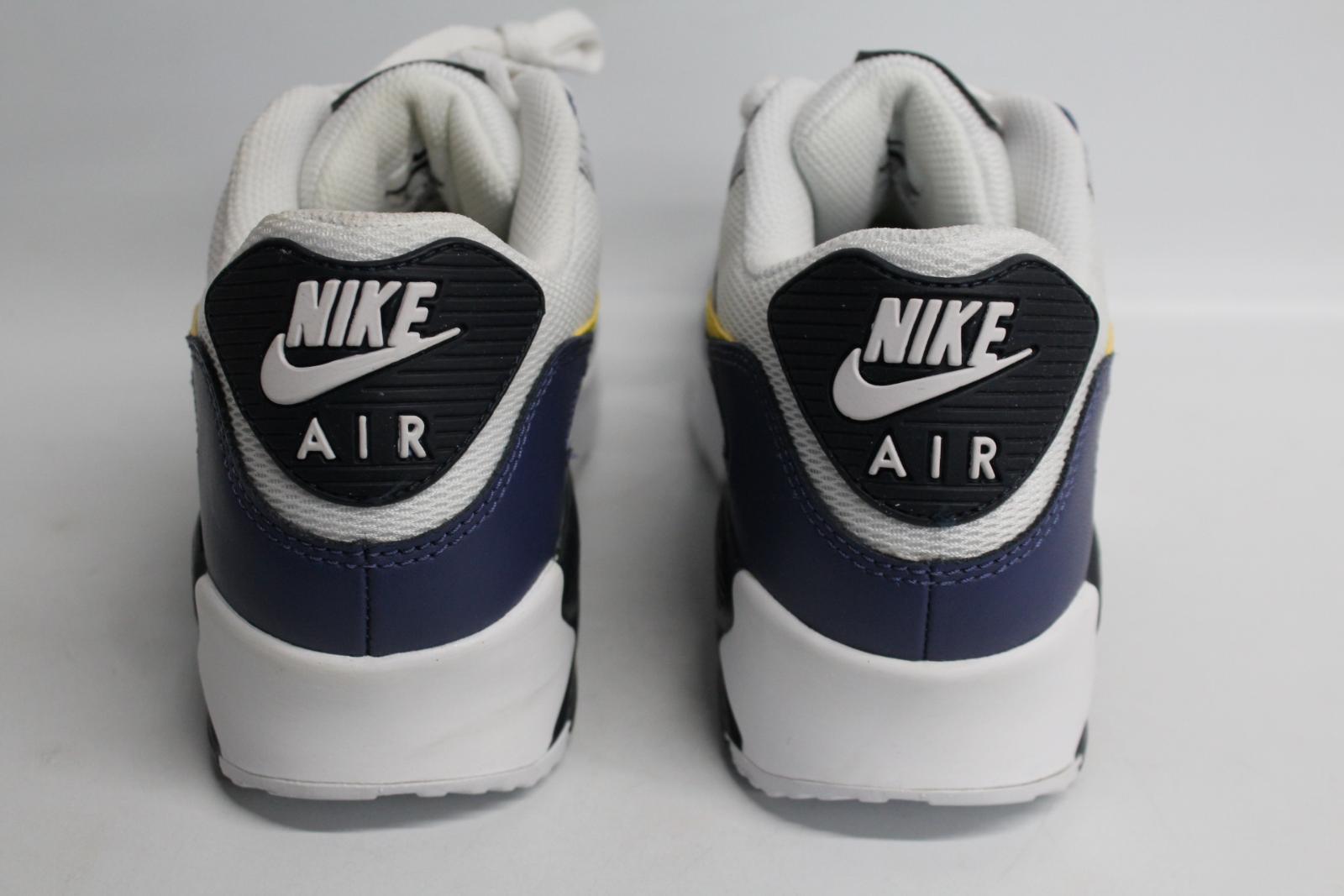 Nike-Men-039-S-Navy-Blu-Giallo-amp-Bianco-AIR-MAX-90-Essential-Scarpe-da-ginnastica-EU41-UK7-NUOVO miniatura 7