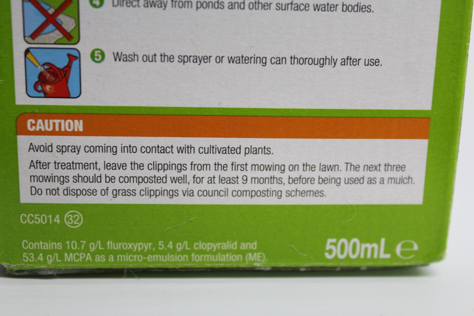 2x-BNIB-WEEDOL-Lawn-Weedkiller-500ml-Kills-Weeds-Treats-333m2-Garden-Space miniatura 10