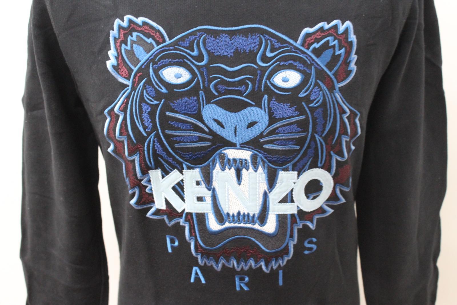 a2dc1a08 KENZO Men's Black & Blue Tiger Head Logo Crew Neck Jumper Sweatshirt Size M  6 6 of 12 ...
