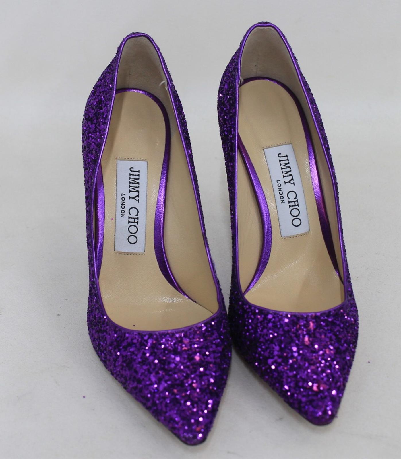5 Choo Eu35 5 100 Purple High Romy Glitter Ladies Uk2 Shoes Heel Jimmy 7Pqdd