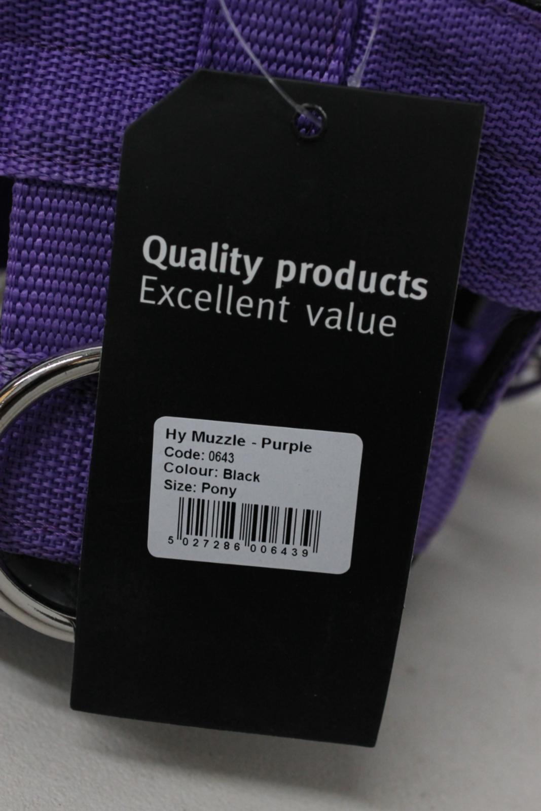 Nouveau-HY-Violet-Poney-Taille-Nylon-cheval-paturage-museau-Bandeau-Masque-code-0643 miniature 4