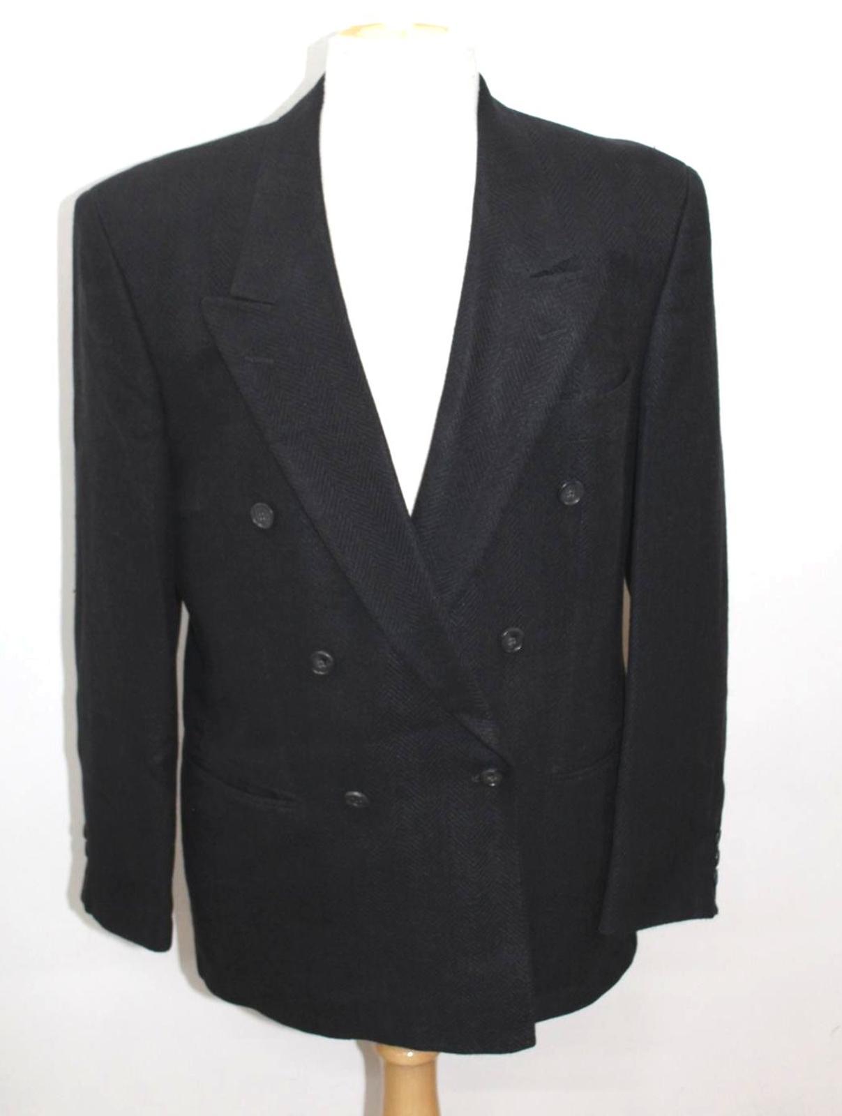 Hugo-Boss-Para-Hombre-Azul-Marino-Herringbone-Doble-Abotonadura-Blazer-Chaqueta-UK42-L miniatura 2