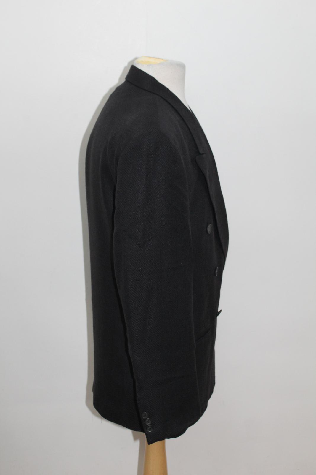Hugo-Boss-Para-Hombre-Azul-Marino-Herringbone-Doble-Abotonadura-Blazer-Chaqueta-UK42-L miniatura 4