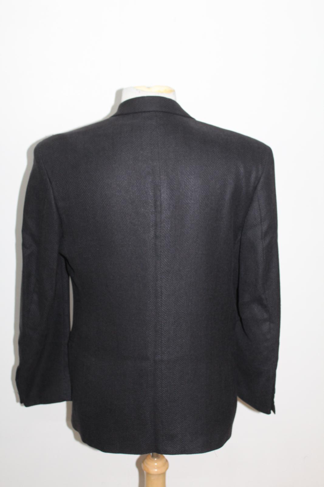 Hugo-Boss-Para-Hombre-Azul-Marino-Herringbone-Doble-Abotonadura-Blazer-Chaqueta-UK42-L miniatura 5