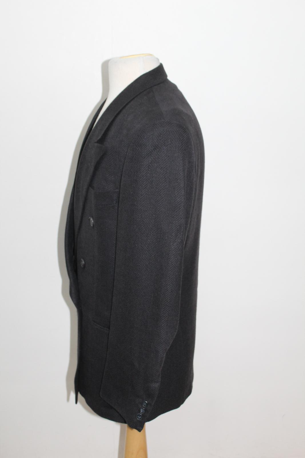 Hugo-Boss-Para-Hombre-Azul-Marino-Herringbone-Doble-Abotonadura-Blazer-Chaqueta-UK42-L miniatura 6