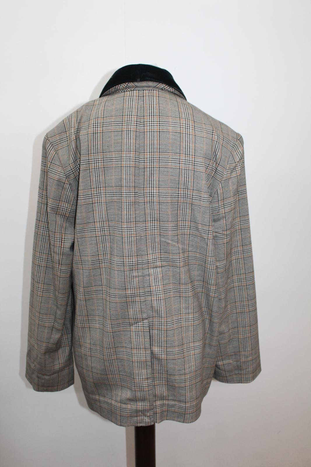 Xs Grey Breasted Jacket Check Lapel Ladies Green Free Nwot Velvet Double People BApnE4v