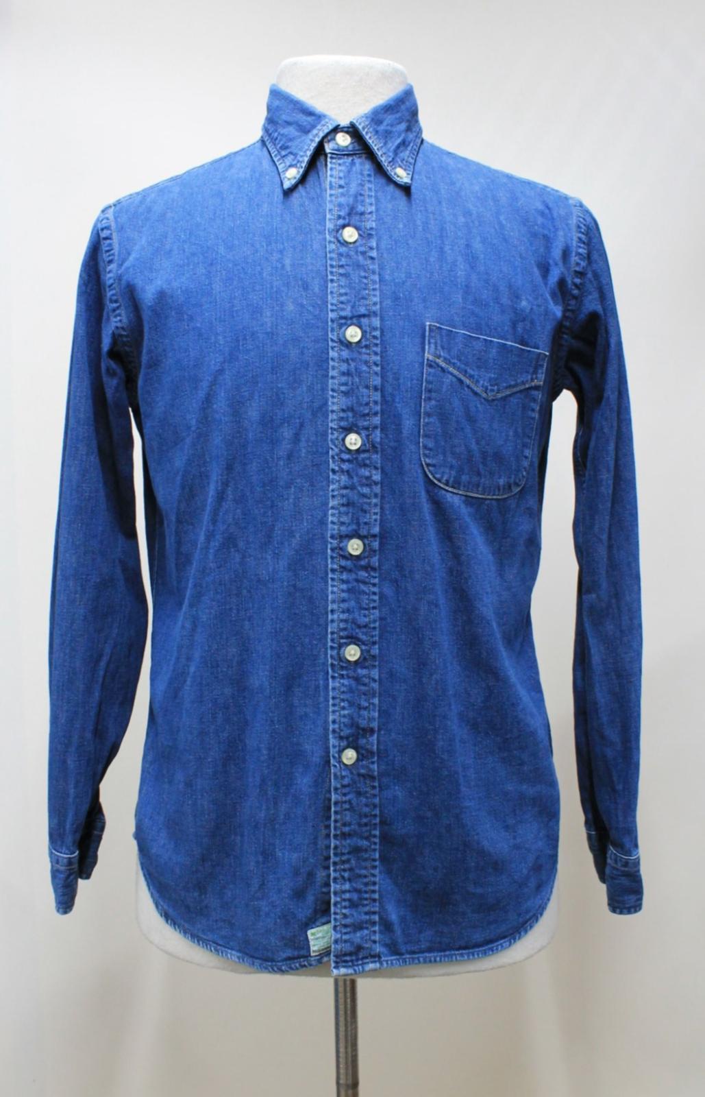 Orslow-Hombres-Azul-Algodon-Denim-Con-Cuello-Botones-camisa-de-mangas-largas-Talla-XL miniatura 3