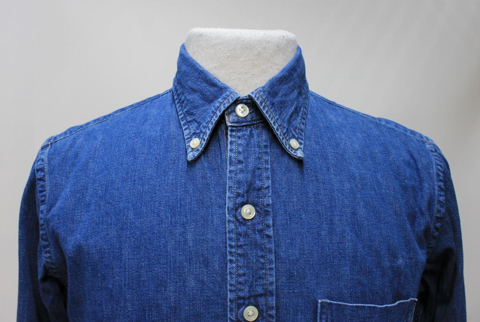 Orslow-Hombres-Azul-Algodon-Denim-Con-Cuello-Botones-camisa-de-mangas-largas-Talla-XL miniatura 4