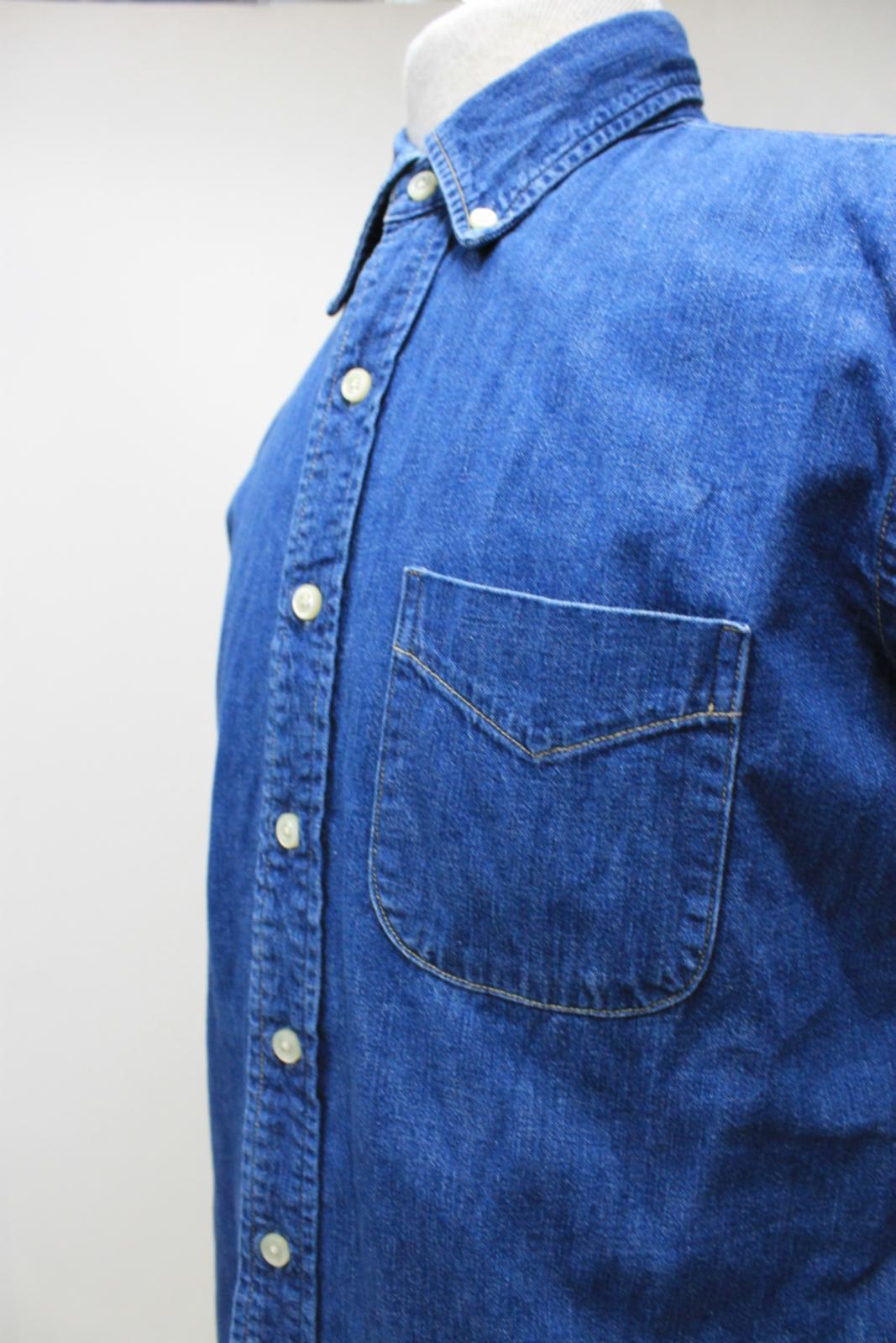 Orslow-Hombres-Azul-Algodon-Denim-Con-Cuello-Botones-camisa-de-mangas-largas-Talla-XL miniatura 8