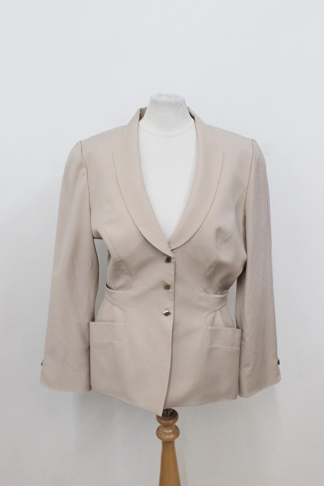 Beige Ladies Breasted Single Light Eu40 Jacket Wool Mugler Thierry Uk12 Suit wHxqZta5