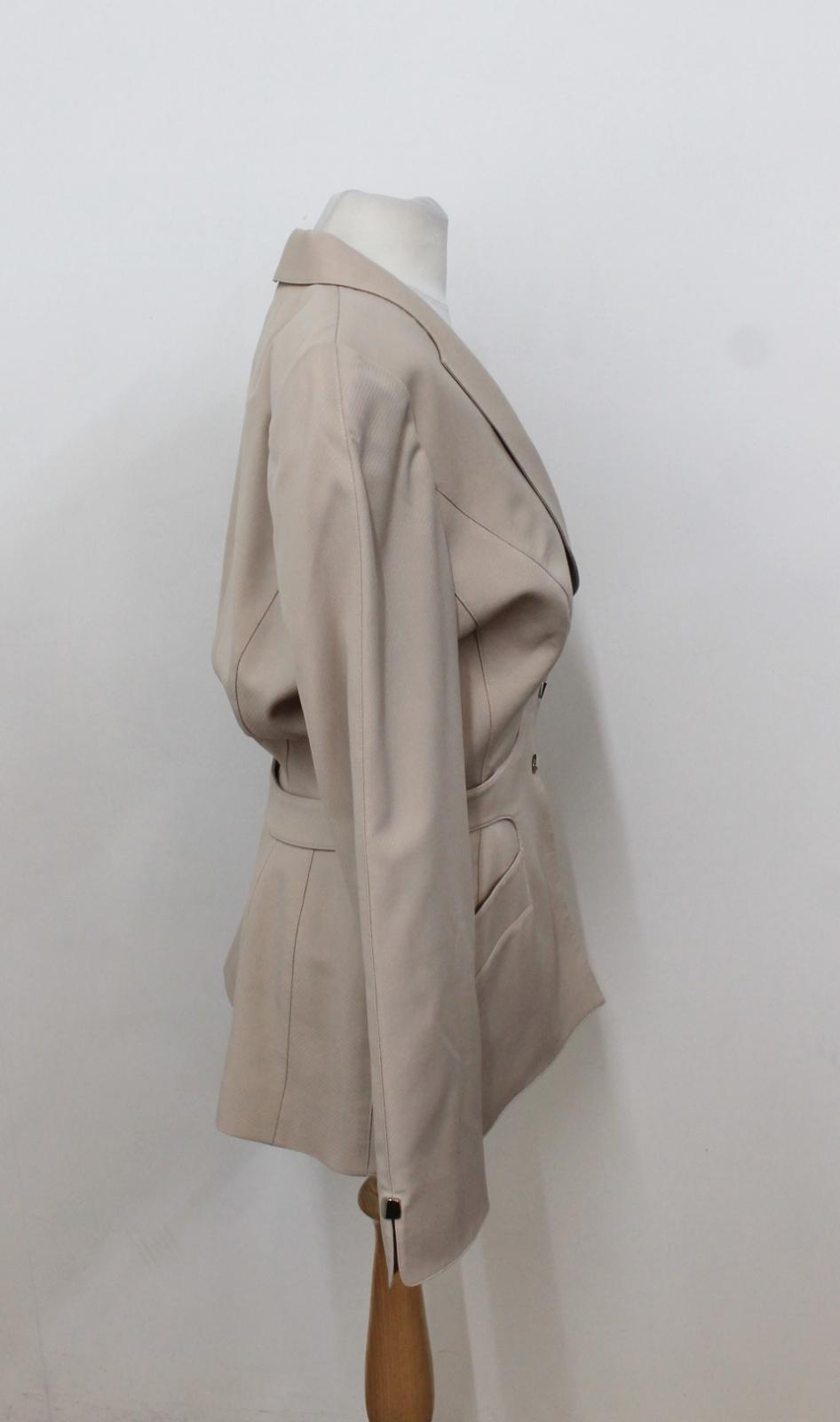 Jacket Breasted Ladies Suit Single Mugler Beige Uk12 Eu40 Wool Light Thierry 8xCqBZn