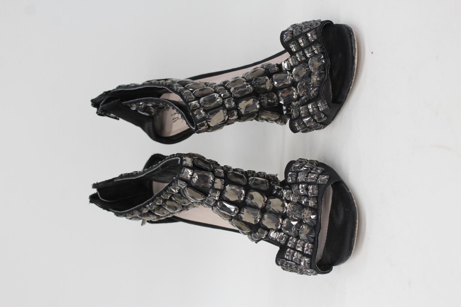 Uk7 alto tacco in Miss Uk40 Kg nero tacco gioiello Donna alto con raso Sandalo fBx7Axqg